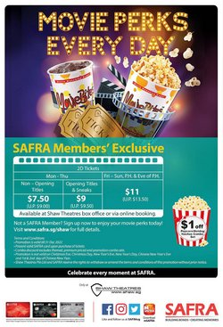Travel & Leisure offers in the Shaw Theatres catalogue ( More than a month)