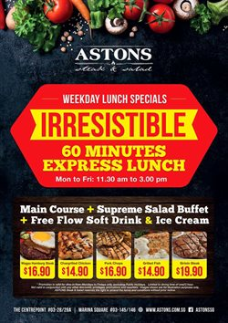 Restaurants offers in the Astons catalogue in Singapore