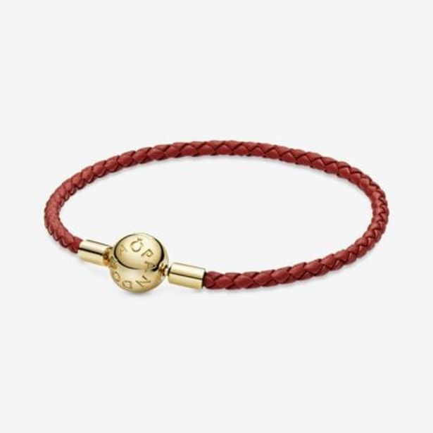 Pandora Moments Red Woven Leather Bracelet offers at S$ 99