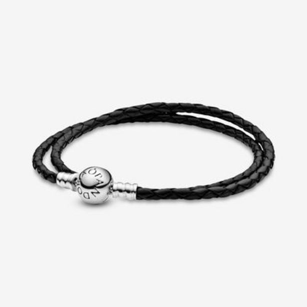 Pandora Moments Double Black Leather Bracelet offers at S$ 99