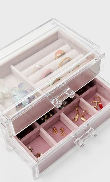 Large velvet jewellery box with drawer offers at S$ 39.9