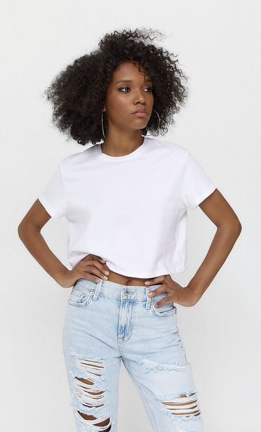 Basic short sleeve crop top offers at S$ 14.9