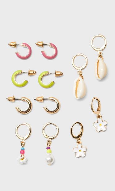 Set of 6 pairs of coloured and charm hoop earrings offers at S$ 16.9
